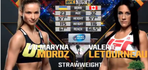 Valérie Létourneau vs Maryna Moroz : Fight Night 74 (not hosted on SpinningBackFist)